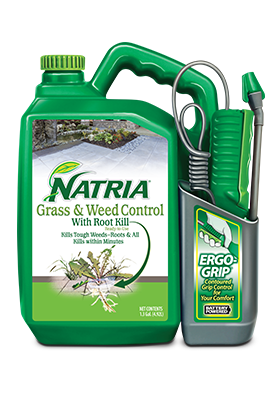 Custom packaging for NATRIA's grass and weed control product.