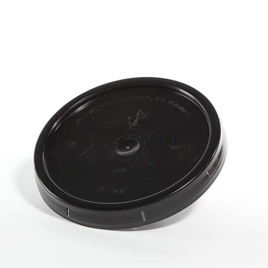Picture of 3.5-6 Gallon HDPE Black Cover w/ Tear Tab No Gasket