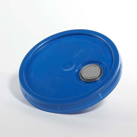 Picture of 3.5-6 Gallon HDPE Blue Cover w/ Tear Tab with Rieke Prep