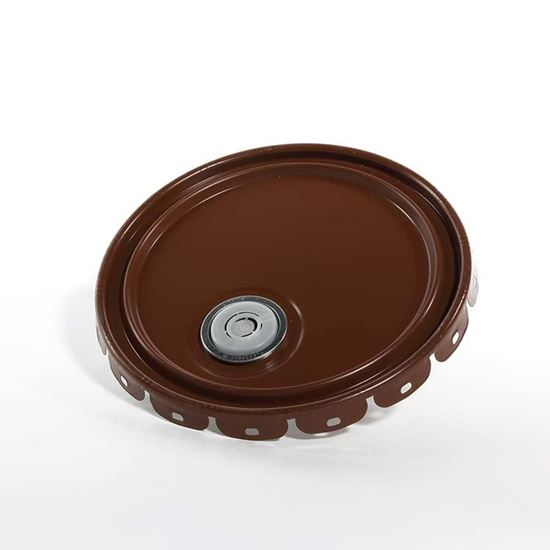 Picture of 5 Gallon Steel Brown Lug Cover w/ Interior Rust Inhibitor Lining, Rieke and Flow in Gasket - UN