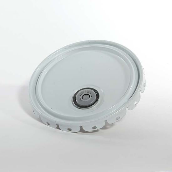 Picture of 5 Gallon Steel White Lug Cover w/ Rust Inhibitor Lining and Rieke - UN