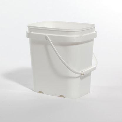 Picture of 1 Gallon HDPE White Open Head Nestable Pail w/ Plastic Handle