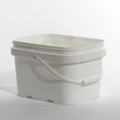 Picture of 1.32 Gallon HDPE White Open Head Nestable Pail w/ Plastic Handle