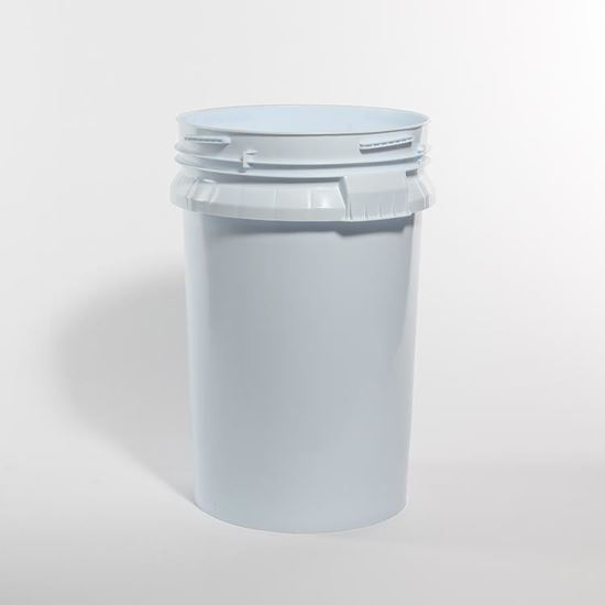 Picture of 100 Pound HDPE Blue/White Open Head Nestable Pail