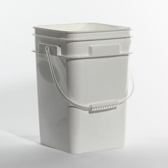 Picture of 16 L HDPE White Open Head Nestable Pail w/ Plastic Handle