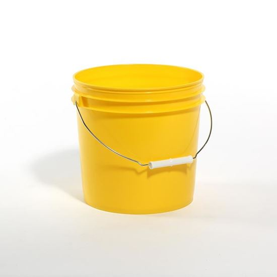 Picture of 2 Gallon HDPE Yellow #115 Open Head Nestable Pail
