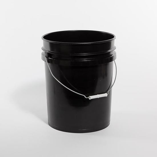 Picture of 5 Gallon HDPE Black Open Head Nestable Pail w/ Metal Handle and CWL