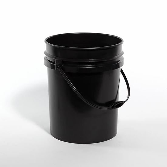 Picture of 5 Gallon HDPE Black Open Head Nestable Pail w/ Plastic Handle and CWL
