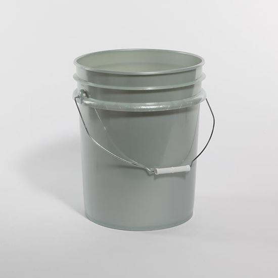 Picture of 5 Gallon HDPE Silver Open Head Nestable Pail w/ Metal Handle