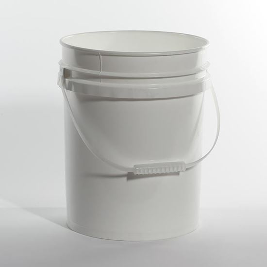Picture of 5 Gallon HDPE White Open Head Nestable Pail w/ Plastic Handle and CWL