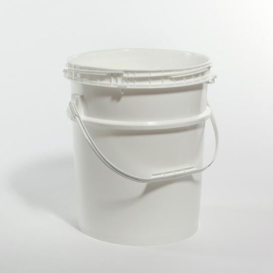 Picture of 5 Gallon HDPE White Open Head Nestable Pail w/ Screw Top