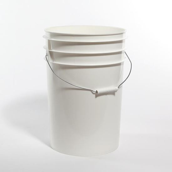 Picture of 6 Gallon HDPE White Open Head Nestable Pail w/ CWL