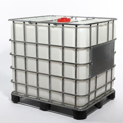"""Picture of 275 Gallon Natural Tote with 6"""" Red Cap and 2"""" Ball Valve Viton Gasket"""