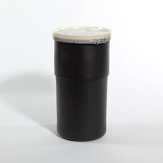 Picture of 14 Gallon Open Head Nestable Black Plastic Drum
