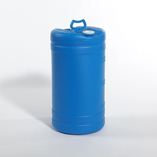 """Picture of 15 Gallon Tight Head  Blue Plastic Drum with 2"""" Buttress and 3/4"""" NPS Fittings"""