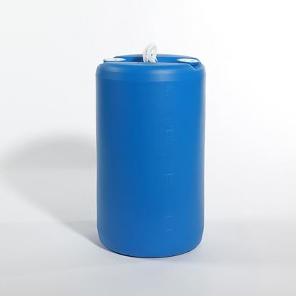 "Picture of 20 Gallon Tight Head  Blue Plastic Drum with 2"" Buttress and 2"" NPT Fittings"