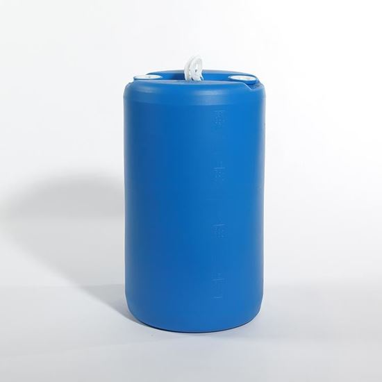 """Picture of 20 Gallon Tight Head  Blue Plastic Drum with 2"""" Buttress and 2"""" NPT Fittings"""