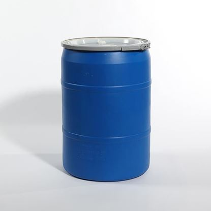 "Picture of 30 Gallon Open Head  Blue Plastic Drum with 2"" Buttress and 2"" NPS Fittings"