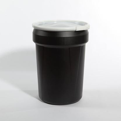 Picture of 30 Gallon Open Head Nestable Black Plastic Drum
