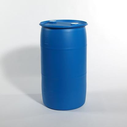 """Picture of 35 Gallon Tight Head  Blue Plastic Drum with 2"""" Buttress and 2"""" NPT Fittings"""