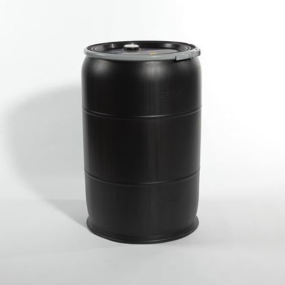 "Picture of 55 Gallon Open Head  Black Plastic Drum with 2"" and 3/4""  Fittings"