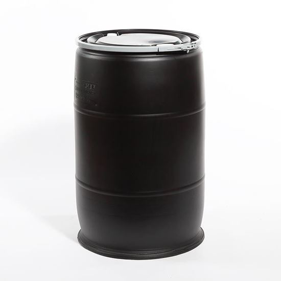 "Picture of 55 Gallon Open Head  Black Plastic Drum with 2"" Buttress and 3/4"" NPS Fittings"