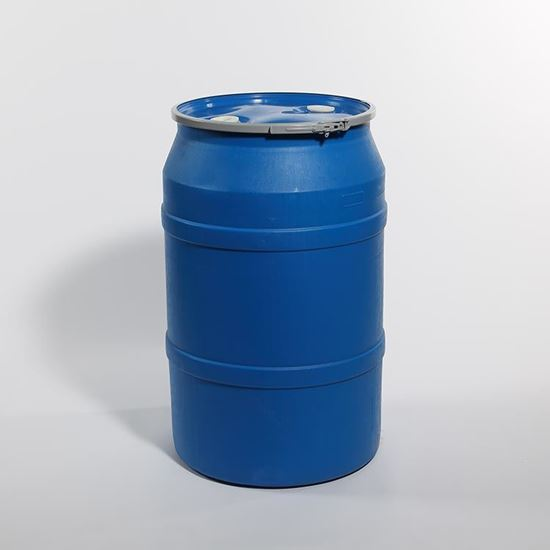 """Picture of 55 Gallon Open Head  Blue Plastic Drum with 2"""" Buttress and 2"""" NPT Fittings"""