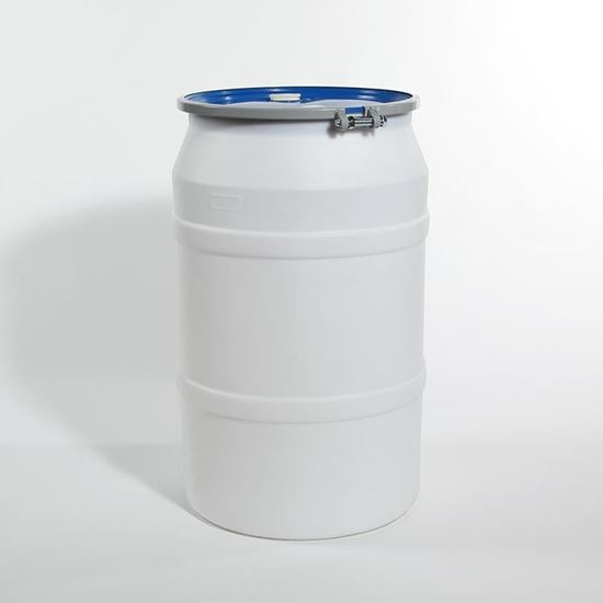 """Picture of 55 Gallon Open Head  Natural Plastic Drum with 2"""" and 2"""" Fittings"""
