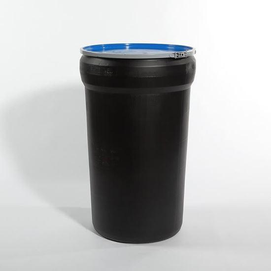 Picture of 55 Gallon Open Head Nestable Black Plastic Drum