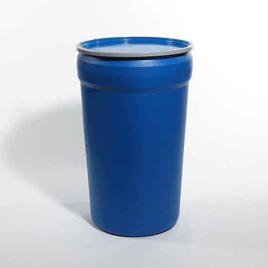 Picture of 55 Gallon Open Head Nestable Blue Plastic Drum