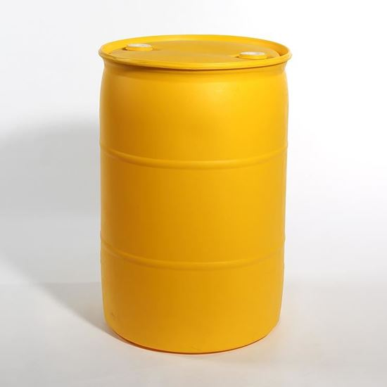 """Picture of 55 Gallon Tight Head  Yellow Plastic Drum with 2"""" Buttress and 2"""" NPT EPDM Gasket Fittings"""
