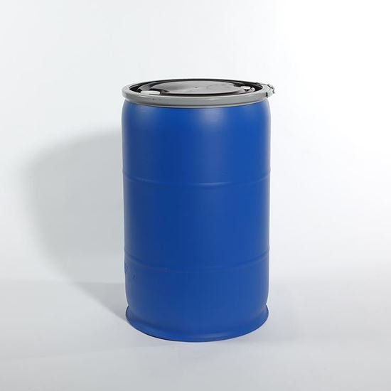 "Picture of 57 Gallon Open Head  Blue Plastic Drum with 2"" Buttress and 3/4"" NPS Fittings"