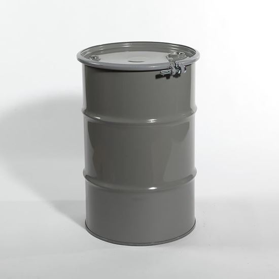 """Picture of 30 Gallon Open Head Gray Steel Drum with 2"""" and 3/4"""" PE IRR Gasket Fittings"""
