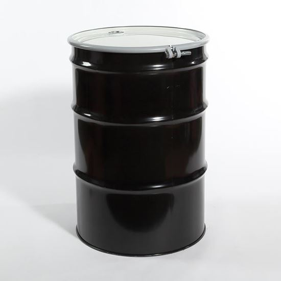 "Picture of 55 Gallon Open Head  Black Steel Drum with 2"" and 3/4"" PE IRR Gasket Fittings"