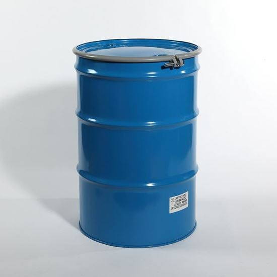 "Picture of 55 Gallon Open Head  Blue Steel Drum with 2"" and 3/4"" PE IRR Gasket Fittings"
