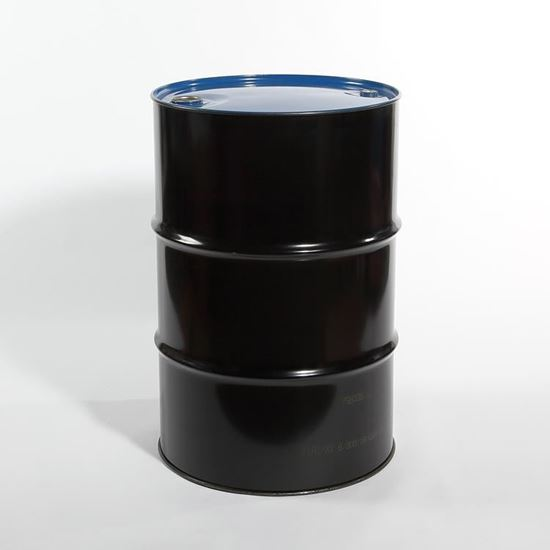 "Picture of 55 Gallon Tight Head  Black Steel Drum with 2"" and 3/4"" NPT  Fittings"