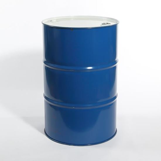 """Picture of 55 Gallon Tight Head Blue Steel Drum with 2"""" and 3/4""""  Fittings"""