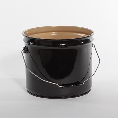 Picture of 3.5 Gallon Steel Black Open Head Nestable Pail w/ Buff- 2 Coat Lining