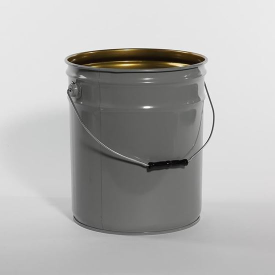Picture of 5 Gallon Steel Gray Open Head Nestable Pail w/ Gold Phenolic Lining