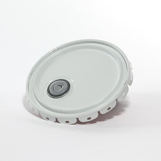 Picture of 5 Gallon Steel White Lug Cover w/ Red Phenolic Lining, Rieke and Flow in Gasket - UN