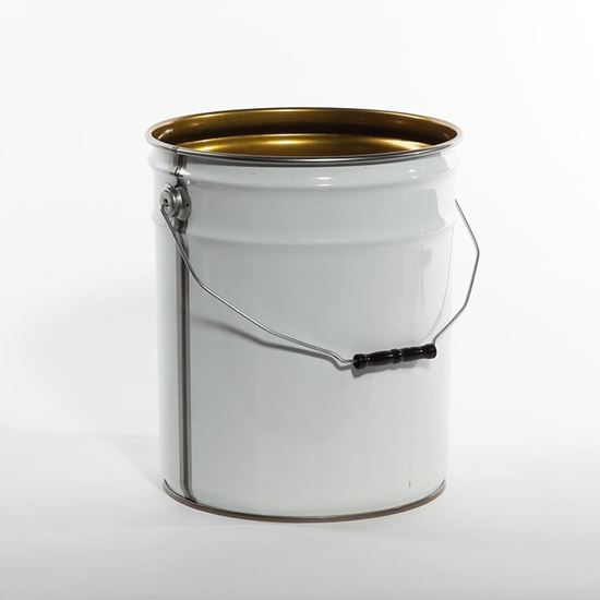 Picture of 5 Gallon Steel White Open Head Nestable Pail w/ Gold Phenolic Lining