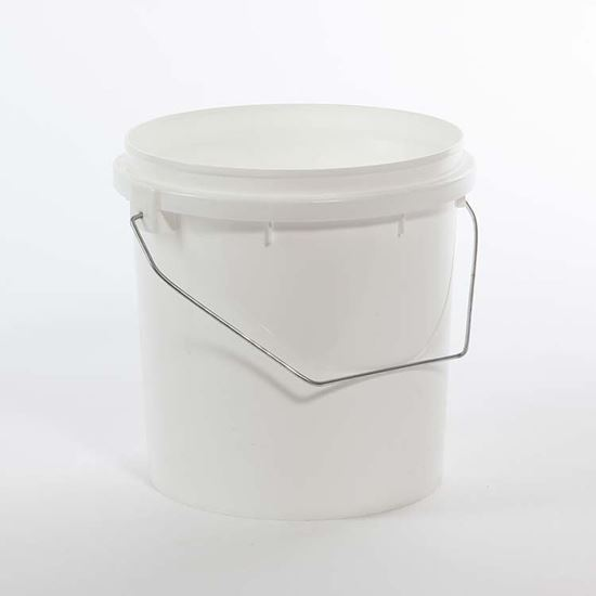 Picture of 1 Gallon HDPE White Open Head Nestable Pail w/ Plastic Handle and Vapor Lok