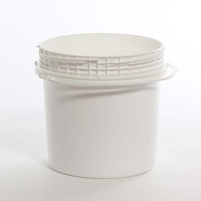 Picture of 1.2 Gallon HDPE White Open Head Nestable Pail w/ Screw Top