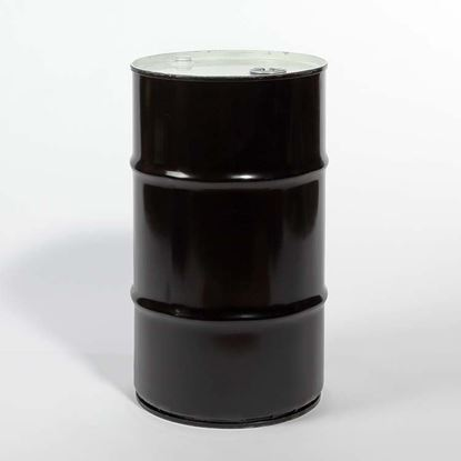 "Picture of 15 Gallon Tight Head  Black Steel Drum with 2"" and 3/4"" PE IRR Gasket Fittings"