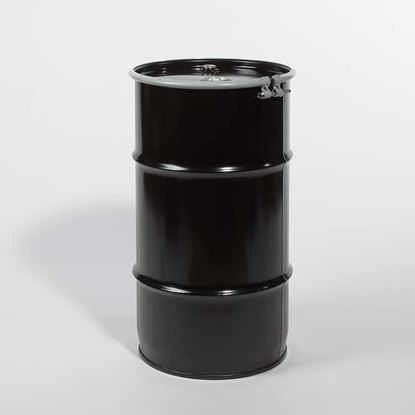 "Picture of 16 Gallon Open Head  Black Steel Drum with 2"" and 3/4"" PE IRR Gasket Fittings"