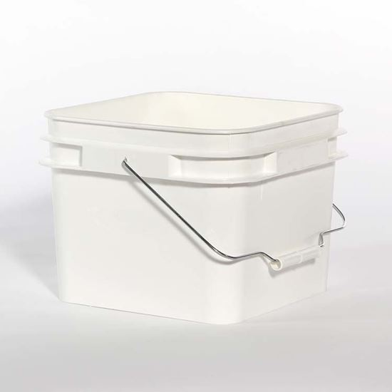 Picture of 2 Gallon HDPE White Open Head Nestable Pail w/ Metal Handle