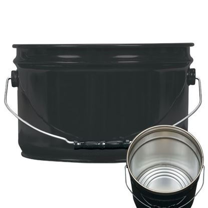 Picture of 2.5 Gallon Steel Black Open Head Nestable Pail w/ Rust Inhibitor Lining