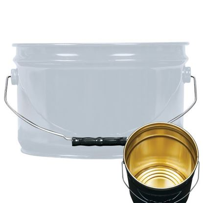 Picture of 2.5 Gallon Steel Gray Open Head Nestable Pail w/ Gold Phenolic Lining
