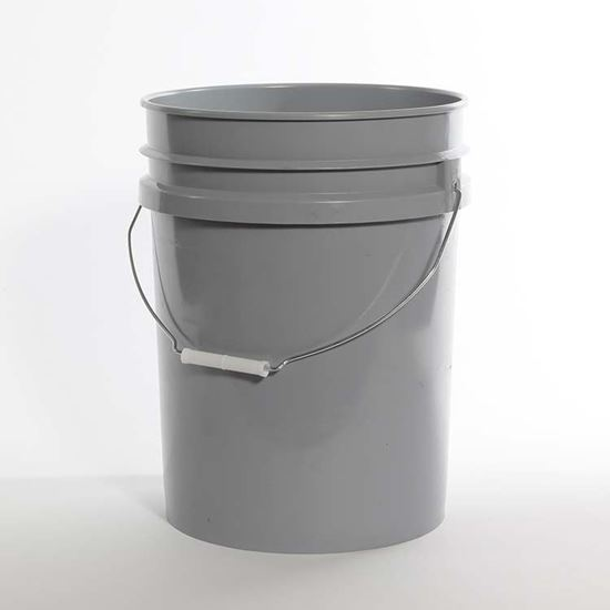 Picture of 20 L HDPE Gray Open Head Nestable Pail w/ CWL