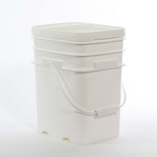 Picture of 20 L HDPE White Open Head Nestable Pail w/ Gold CWL